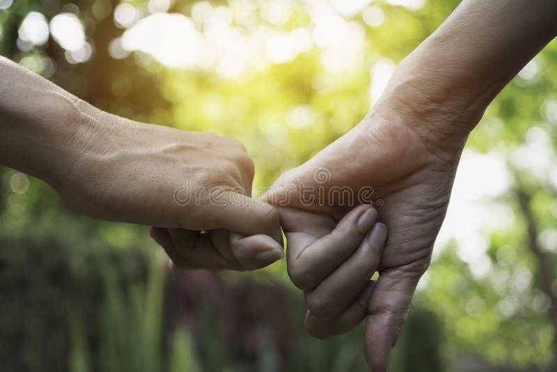 De hand aan pink zweert De gelukkige belofte van de vriendschapspink samen voor liefdeconcept royalty-vrije stock foto's