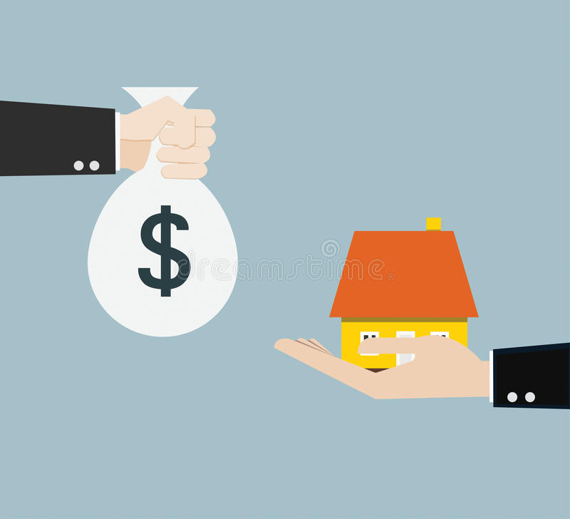 De hand brengt geld voor huis royalty-vrije illustratie