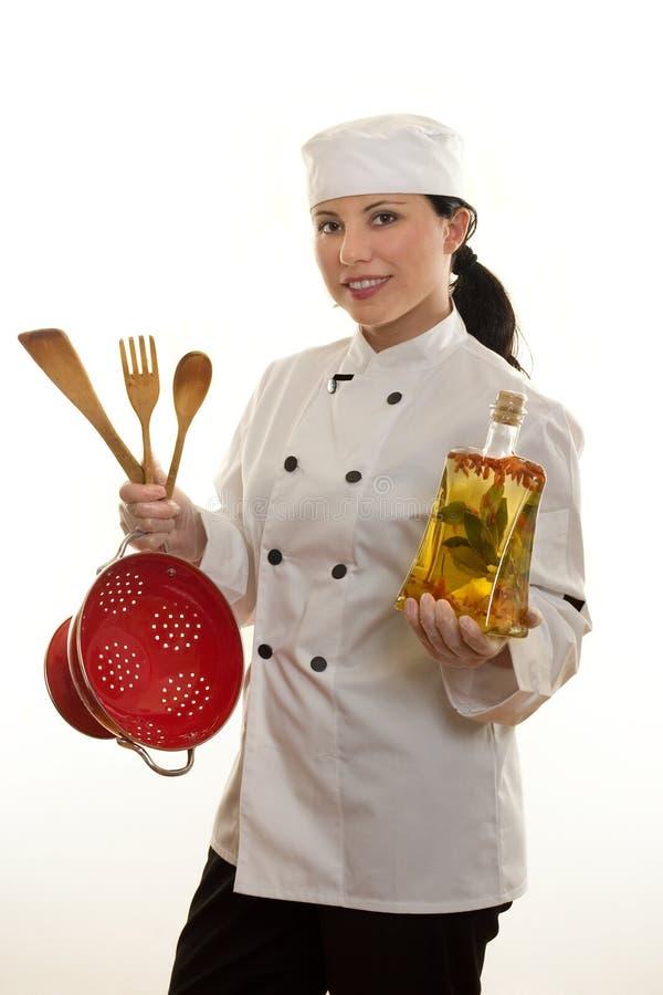 De hand of de Chef-kok van de keuken stock fotografie