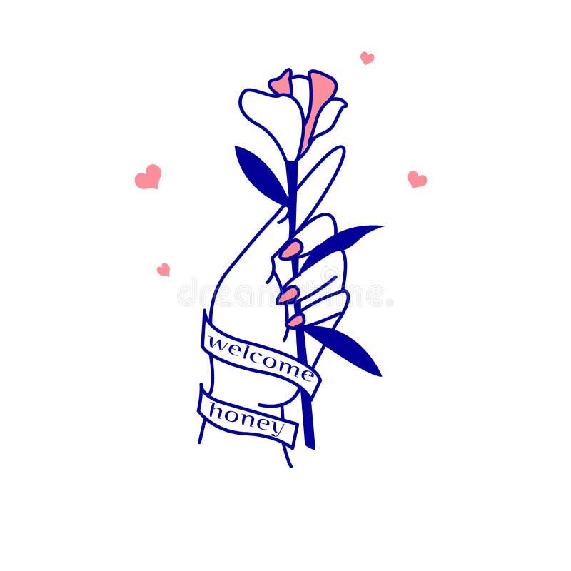 de hand die de bloem houden vector illustratie