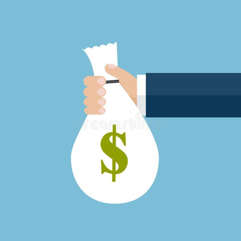 De hand die een zak met geld houdt royalty-vrije illustratie