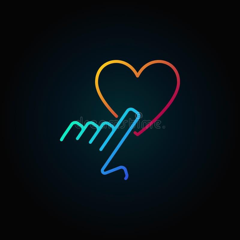 De hand die hartvector richten kleurde overzichtspictogram of teken vector illustratie