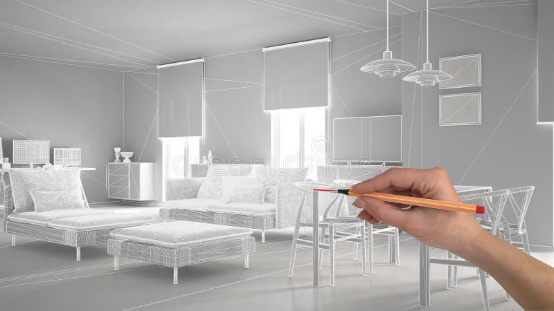 De hand die het abstracte project van het architectuur binnenlandse ontwerp, moderne woonkamer trekken, wireframe schakelt highpo royalty-vrije stock foto's