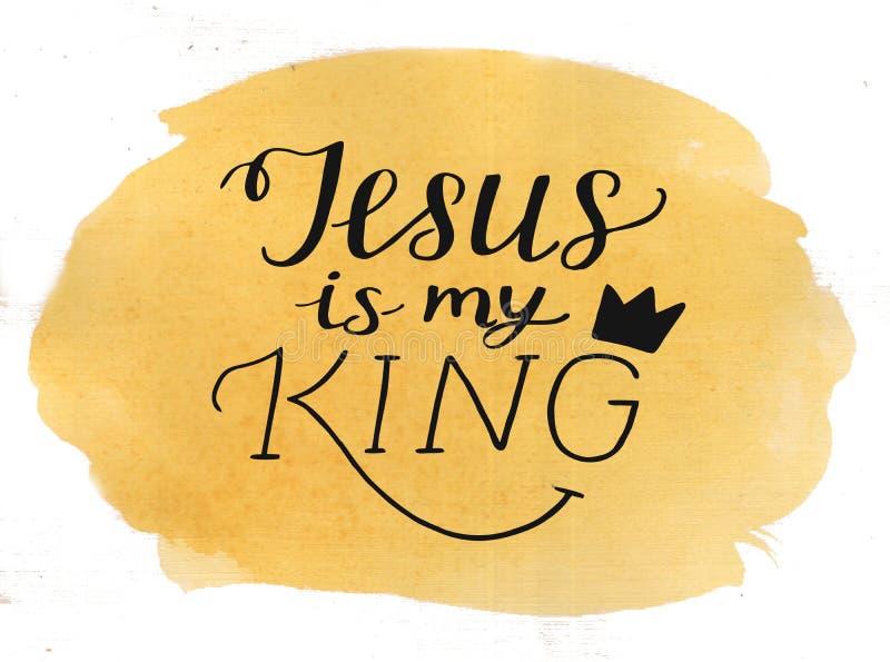 De hand die Jesus van letters voorzien is mijn Koning op waterverfachtergrond royalty-vrije stock afbeeldingen
