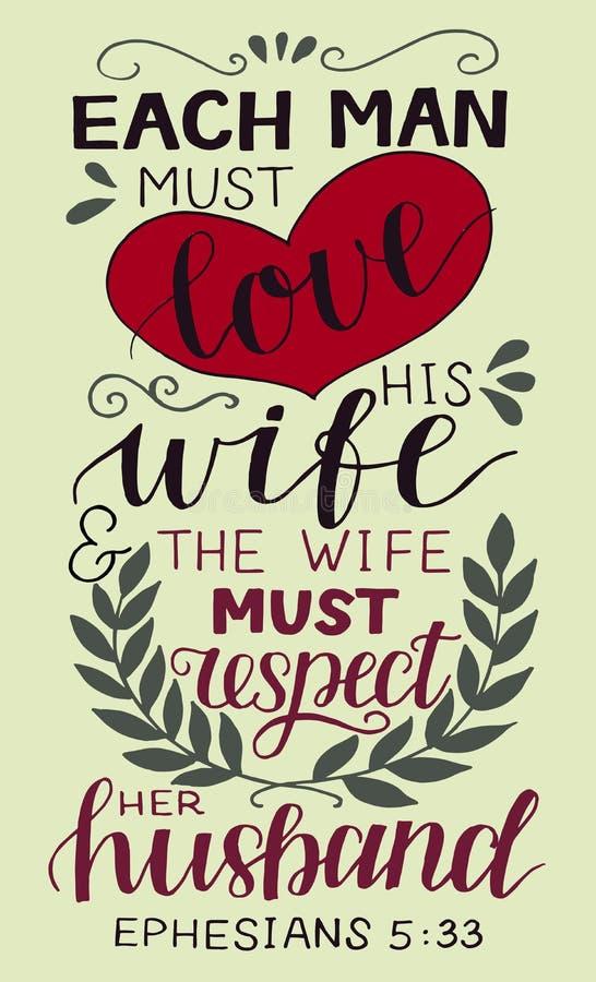 De hand die met bijbelvers de Elke mens van letters voorzien moet van zijn vrouw houden vector illustratie