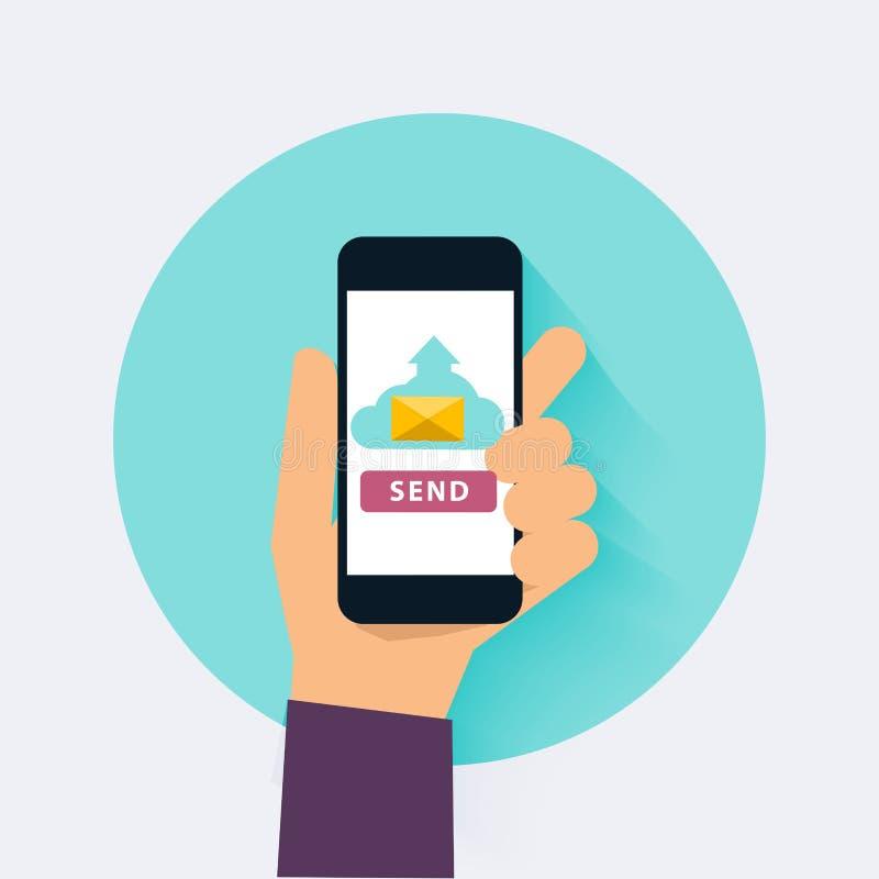 De hand die mobiele slimme telefoon app houden met verzendt e-mail Vlak Ontwerp vector illustratie