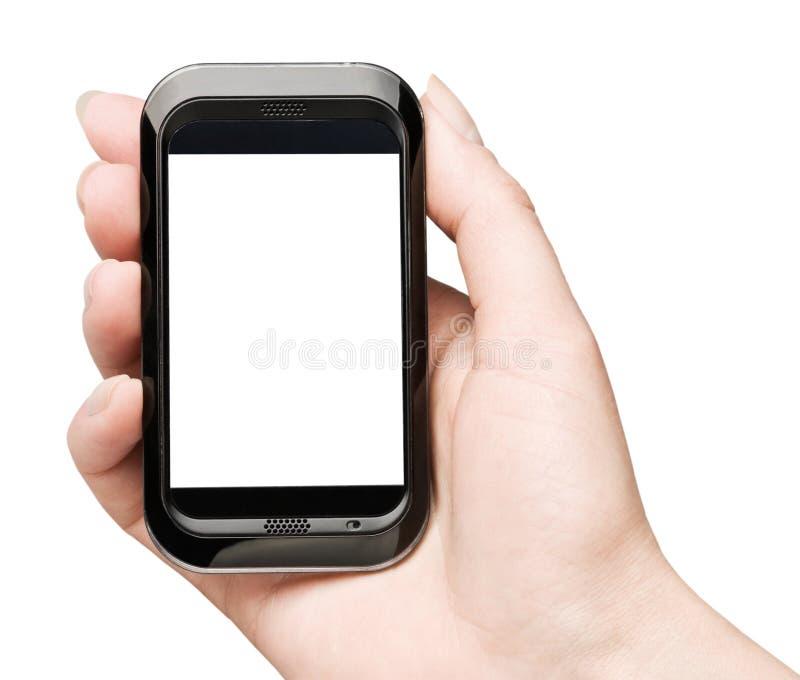 De hand die mobiele slimme telefoon met spatie houdt stsreen royalty-vrije stock afbeeldingen