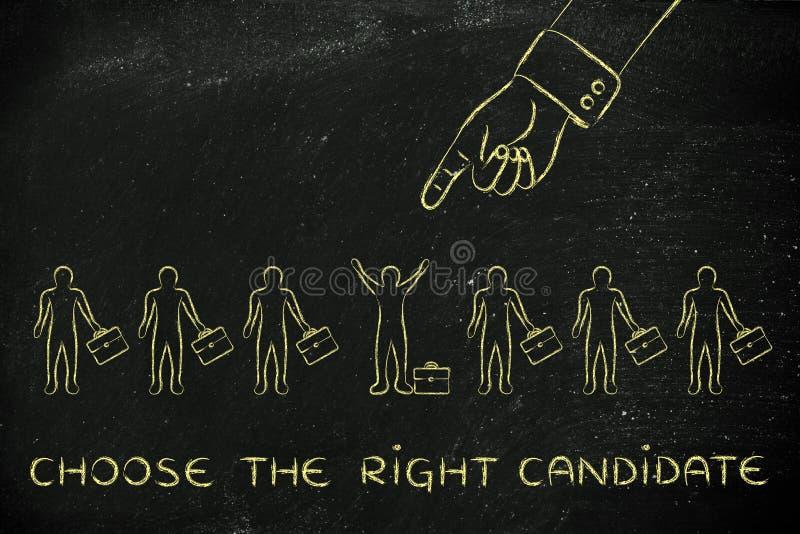 De hand die op één persoon, met tekst richten kiest juist candidat stock foto