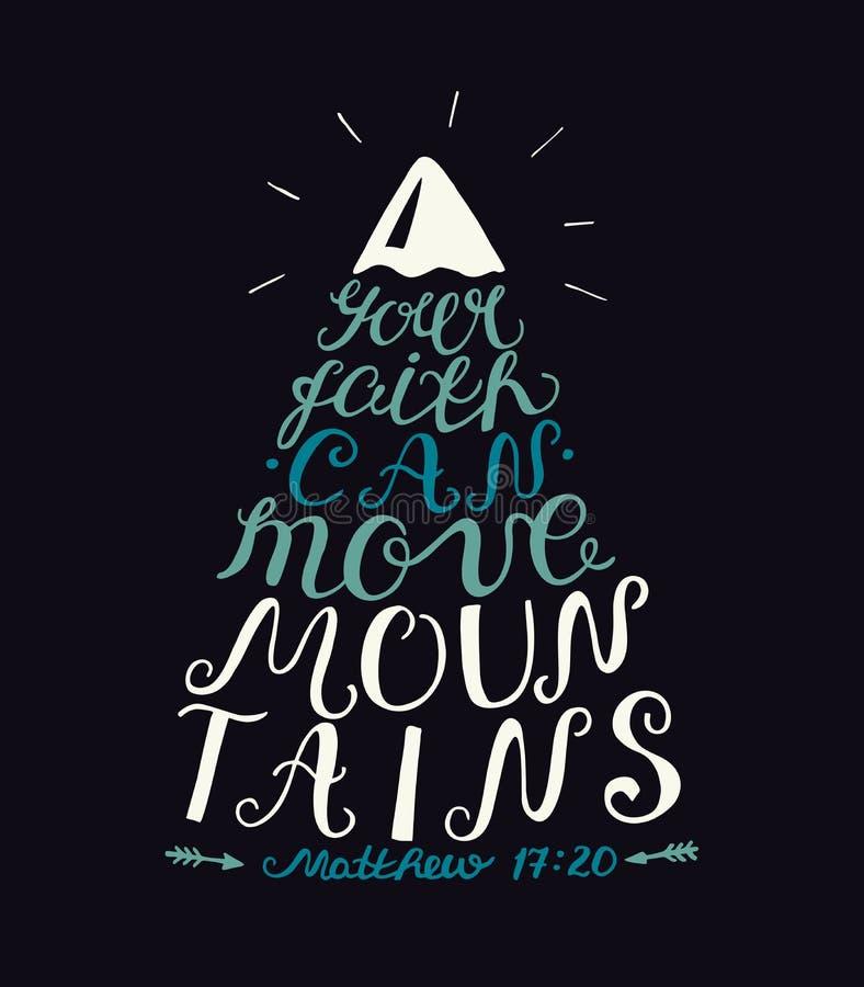 De hand die Uw geloof van letters voorzien kan bergen op donkere achtergrond bewegen stock illustratie