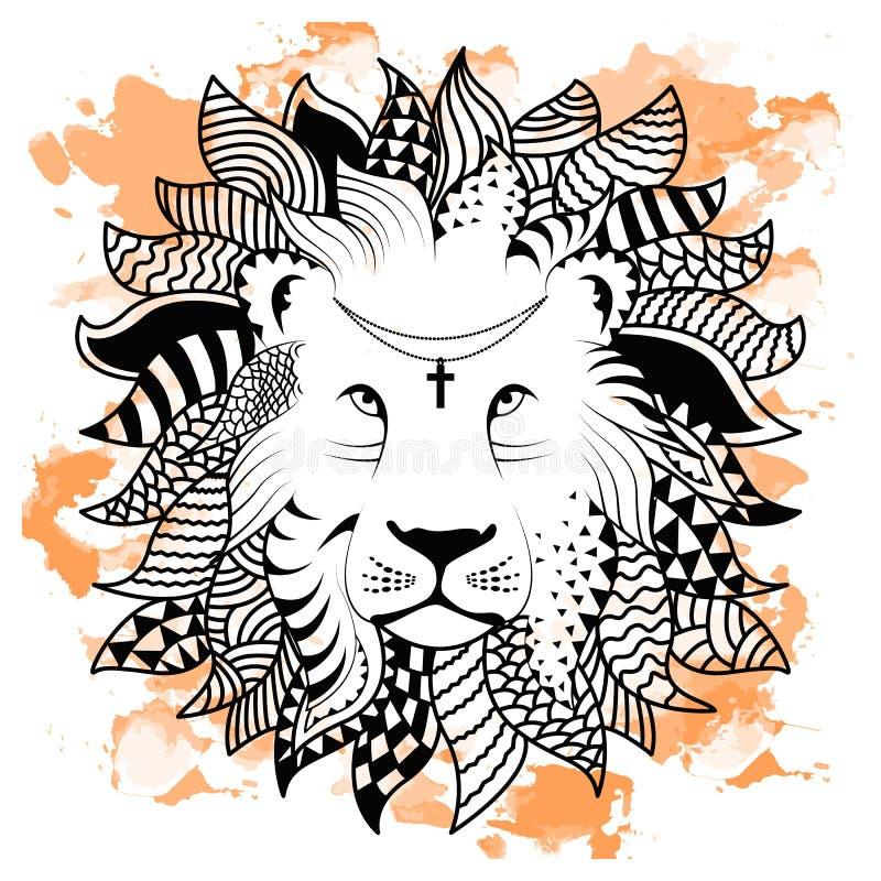 De hand die van de lijnkunst zwarte geïsoleerde leeuw trekken op witte achtergrond met oranje waterverfvlekken De stijl van de kr stock illustratie
