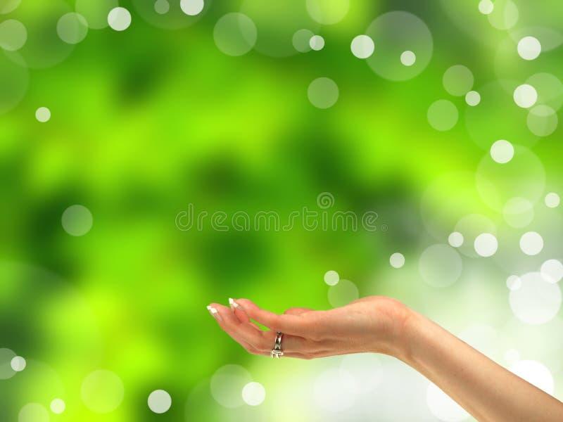 De hand die van de vrouw gebaar aanbiedt royalty-vrije stock afbeelding
