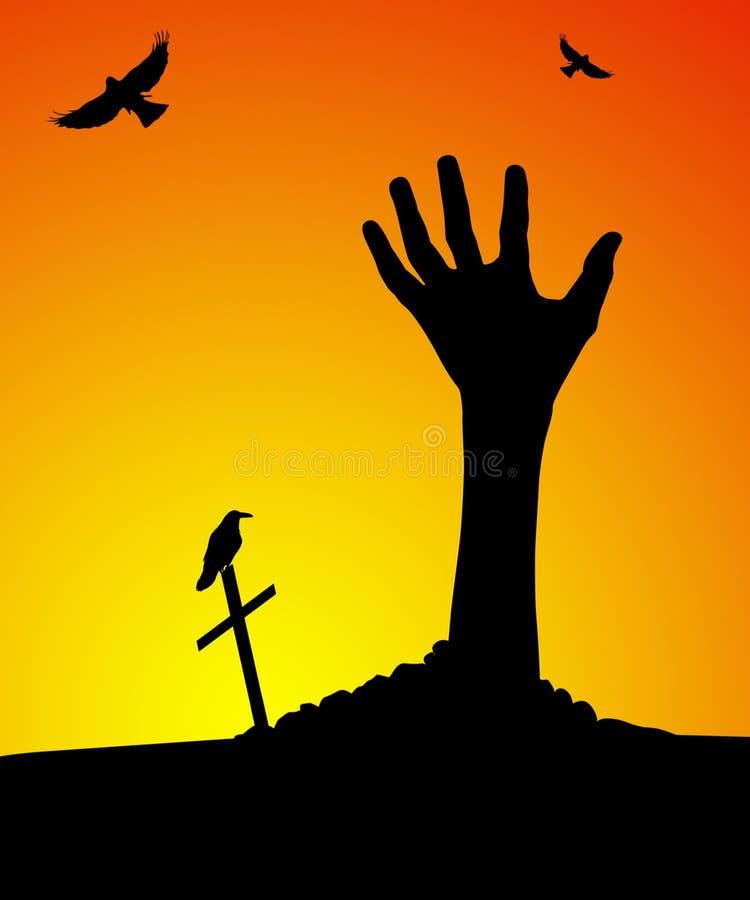 De hand die van de zombie uit graf toeneemt royalty-vrije illustratie