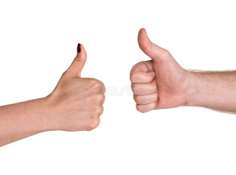 De hand die van het zakenlui duim tonen ondertekent omhoog royalty-vrije stock afbeelding