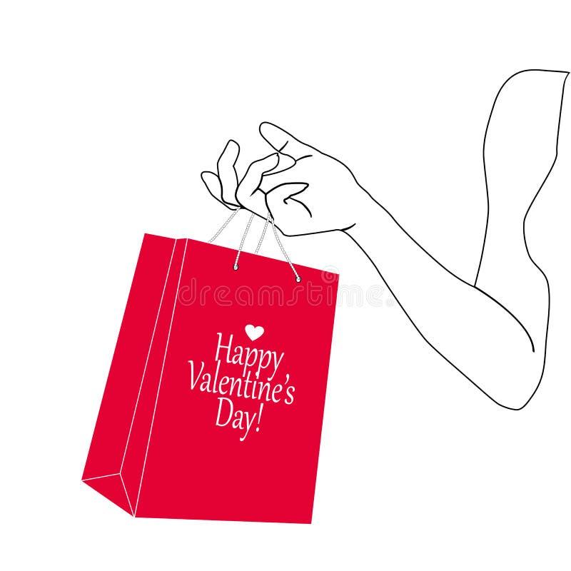 De hand die van de silhouetvrouw rode het winkelen zak houden Document giftpakket in vrouwelijke hand Vectorillustratie in zwart  vector illustratie