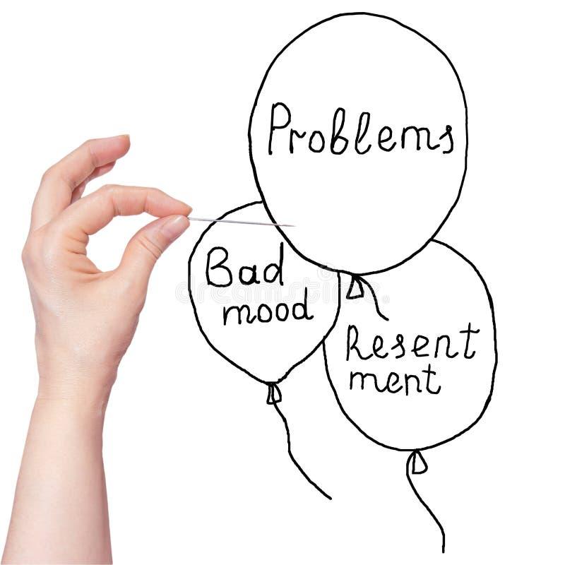 De hand die van de vrouw een naald houden en ballons op witte achtergrond doordringen Menselijke problemeninschrijving stock afbeelding