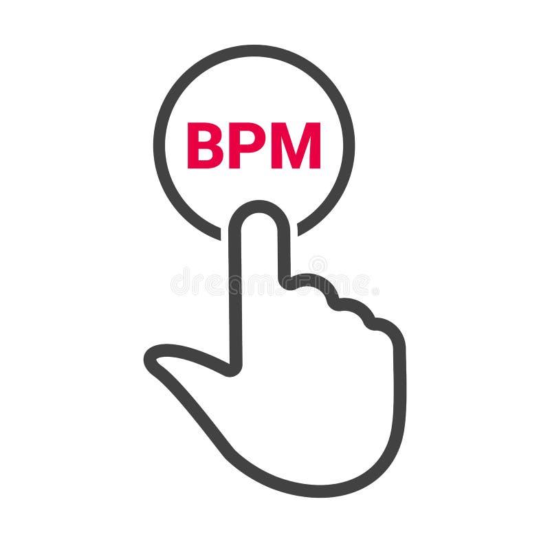De hand drukt de knoop met tekst ` BPM ` vector illustratie