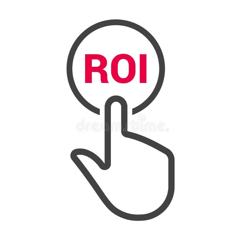De hand drukt de knoop met tekst ` ROI ` vector illustratie