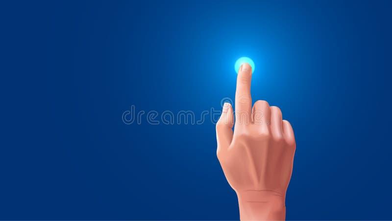 De hand drukt de wijsvinger op het touche screen De knoop op touchscreen wordt benadrukt wanneer onttrokken met uw vector illustratie