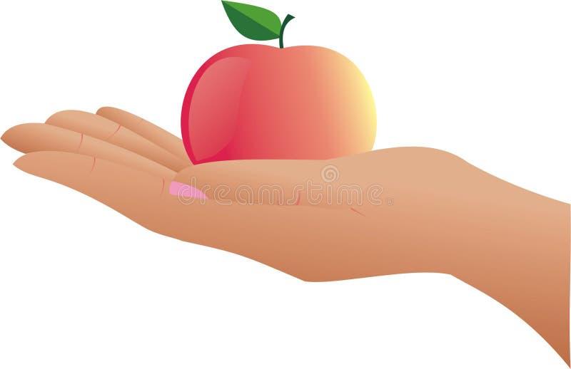 De hand en de appel. royalty-vrije stock afbeeldingen