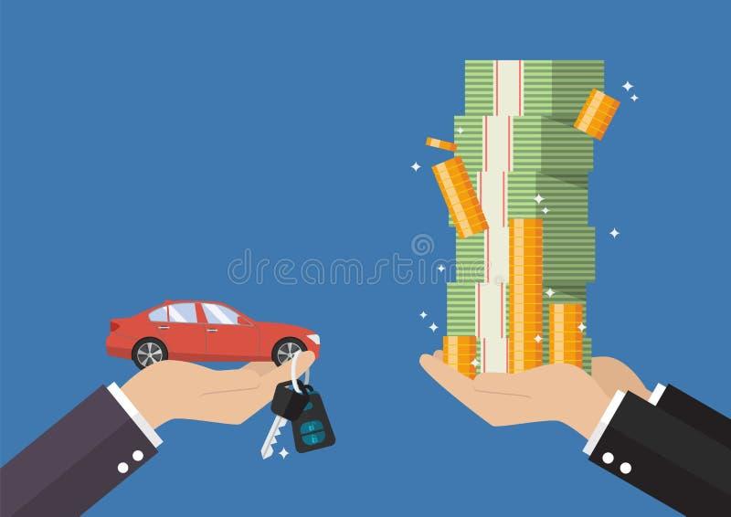 De hand geeft auto en sleutels aan andere hand met geldcontant geld royalty-vrije illustratie