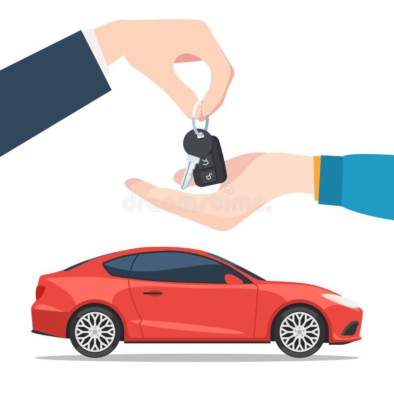 De hand geeft de rode autosleutels royalty-vrije illustratie