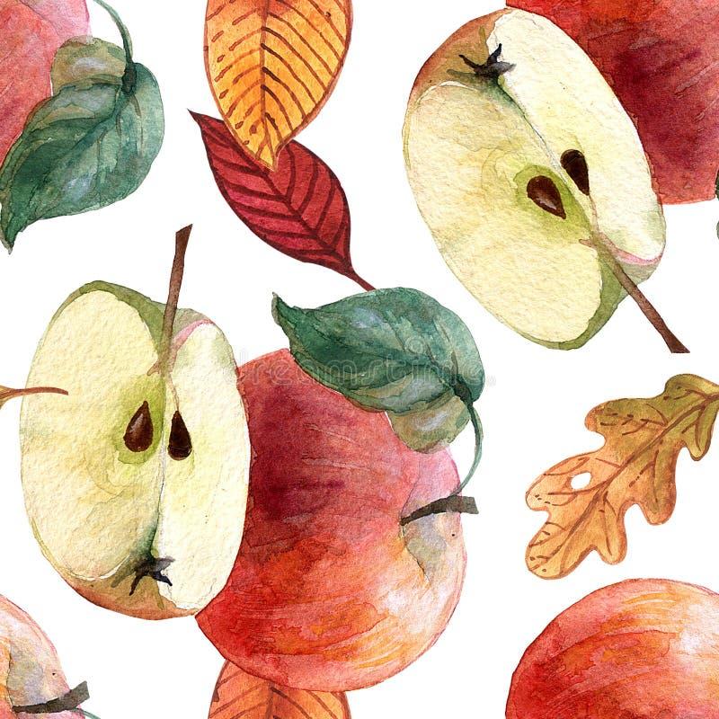 De hand geschilderde bessen en de vruchten van het waterverf naadloze patroon vector illustratie