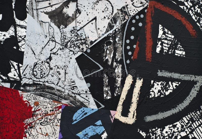 De hand Geschilderde Collage van het Document stock illustratie