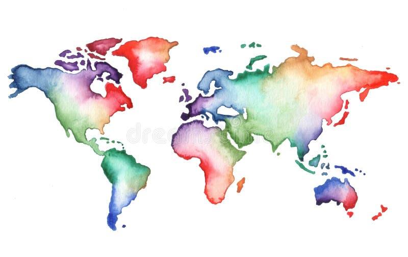 De hand geschilderde kaart van de waterverfwereld royalty-vrije illustratie