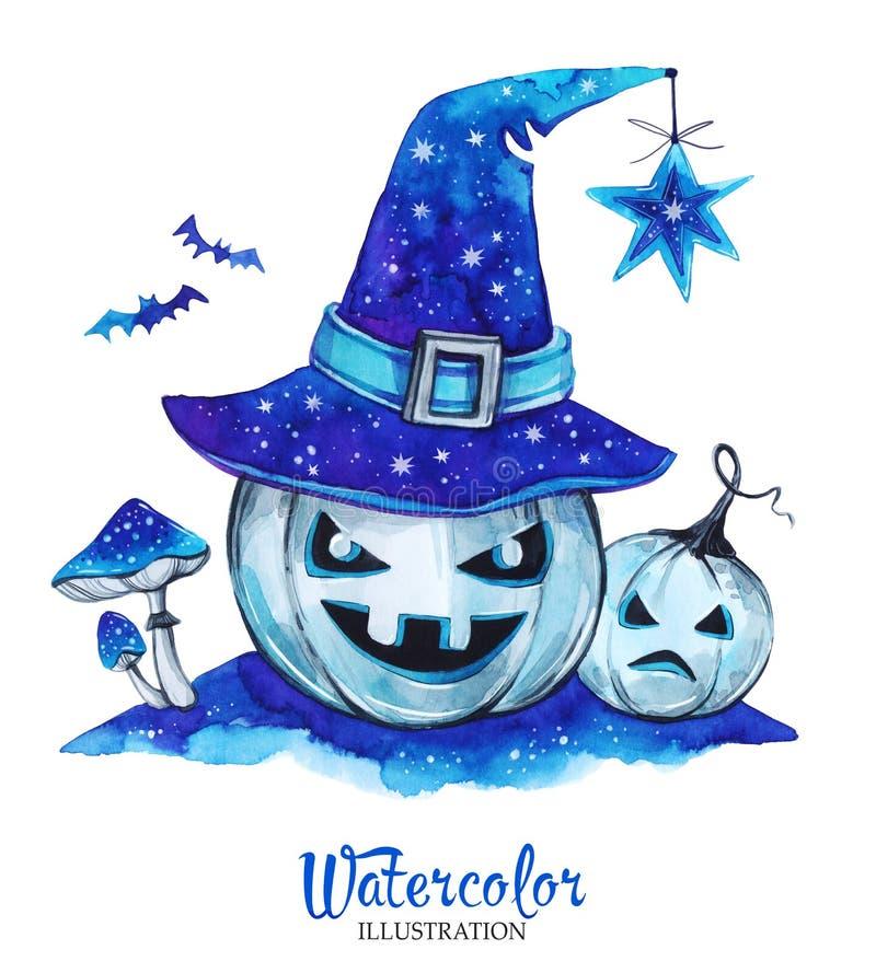 De hand geschilderde pompoenen van lantaarnhalloween met magische hoed en amanieten Enge monsters royalty-vrije illustratie