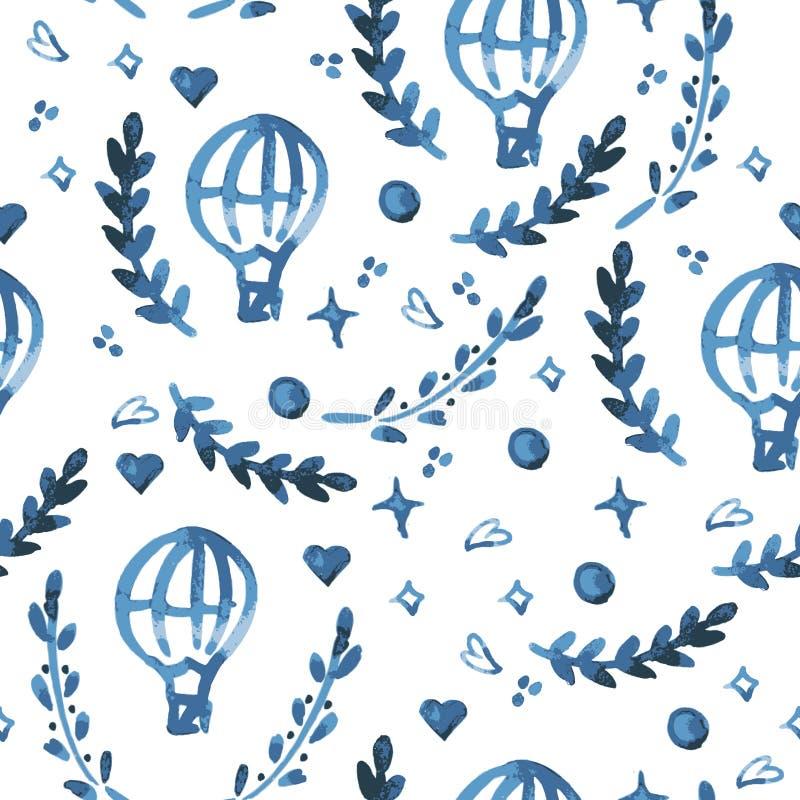 De hand geschilderde van het de bladeren naadloze bloemenpatroon van de waterverfinkt vectorachtergrond Het Patroon van het blad royalty-vrije illustratie