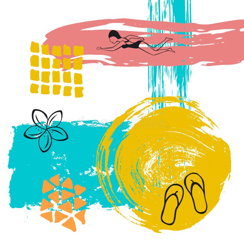 De hand getrokken abstracte originele van de de verfborstel van de de zomertijd van de de kunstslag achtergrond van de de collage royalty-vrije illustratie
