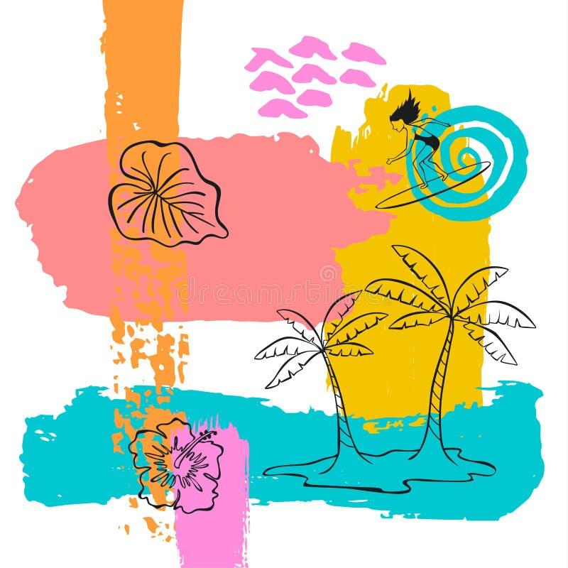 De hand getrokken abstracte originele van de de verfborstel van de de zomertijd van de de kunstslag achtergrond van de de collage stock illustratie