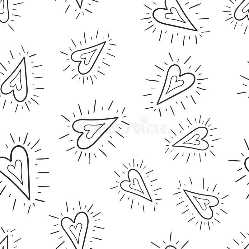 De hand getrokken achtergrond van het harten naadloze patroon Bedrijfs vlakke vec vector illustratie