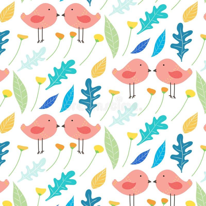 De hand Getrokken Bloemen en Leuke Achtergrond van het Vogelpatroon royalty-vrije illustratie