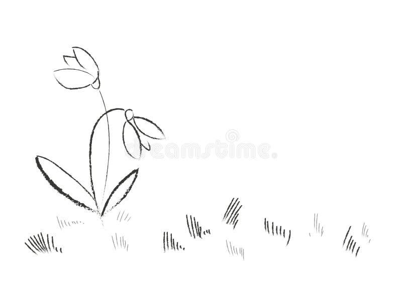 De hand Getrokken Bloemen van de Lente stock afbeelding