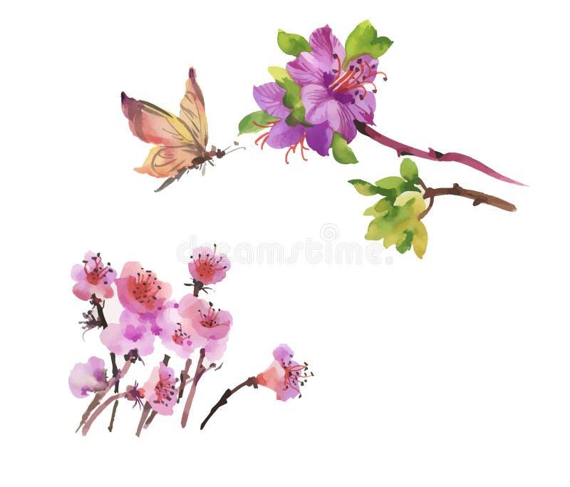 De hand getrokken bloemen van de waterverfzomer met vlinder royalty-vrije illustratie