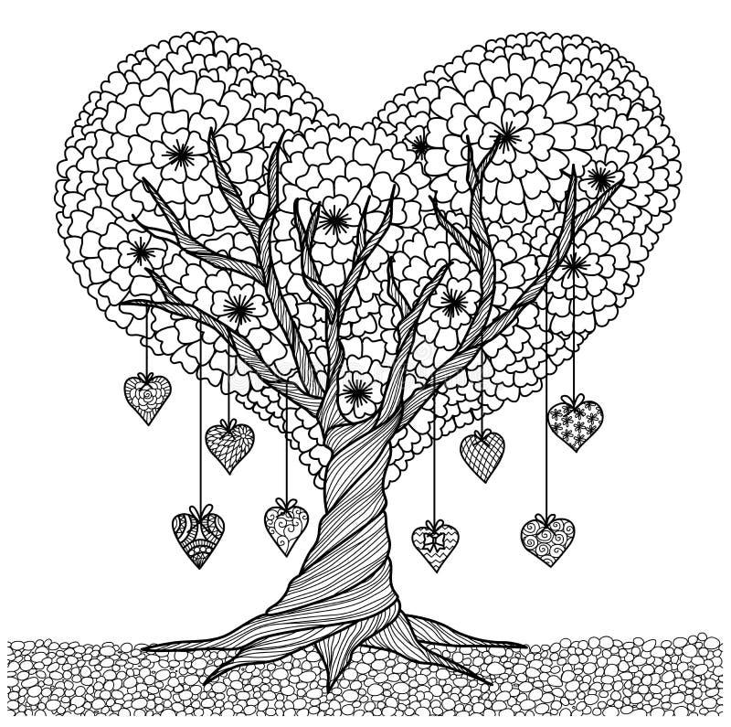 De hand getrokken boom van de hartvorm voor het kleuren van boek voor volwassene
