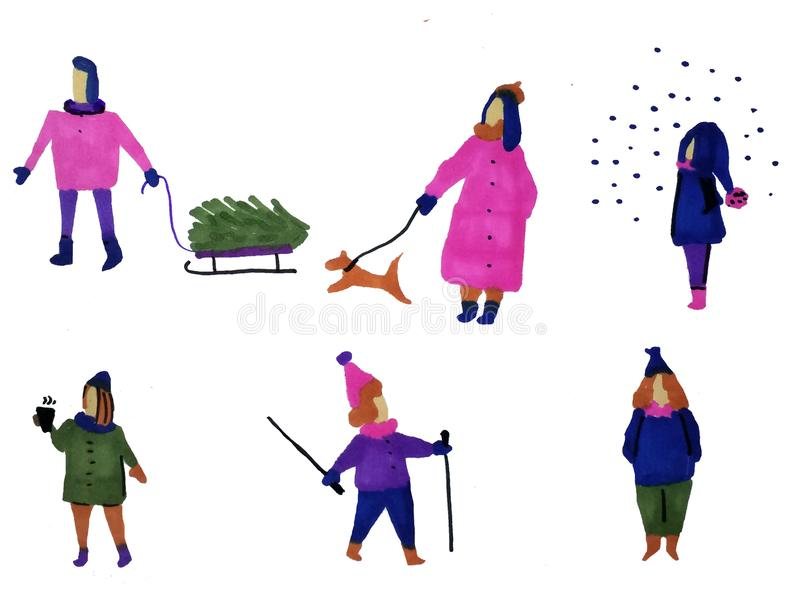 De hand getrokken cijfers van de wintermensen stock illustratie