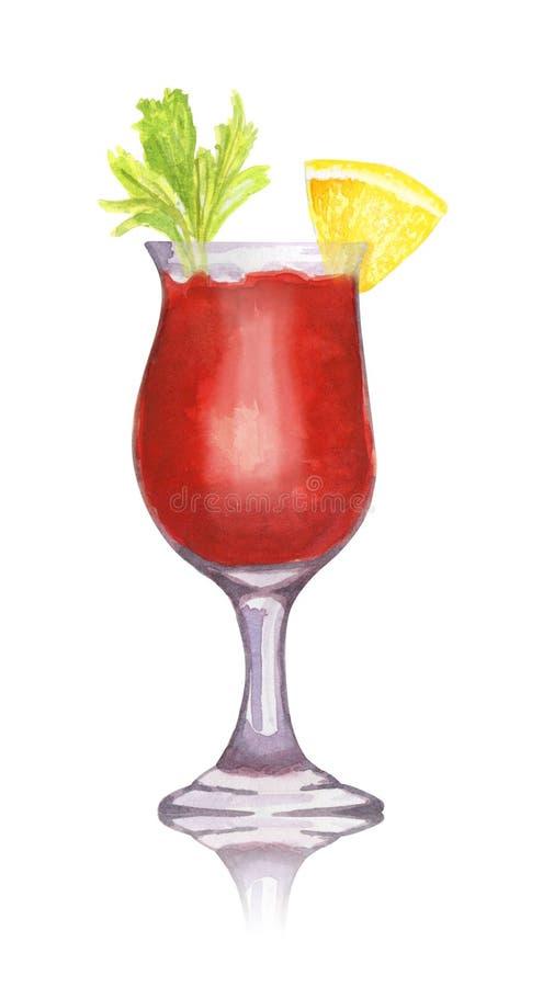 De hand getrokken cocktail van Mary van het waterverfbloed op witte achtergrond vector illustratie