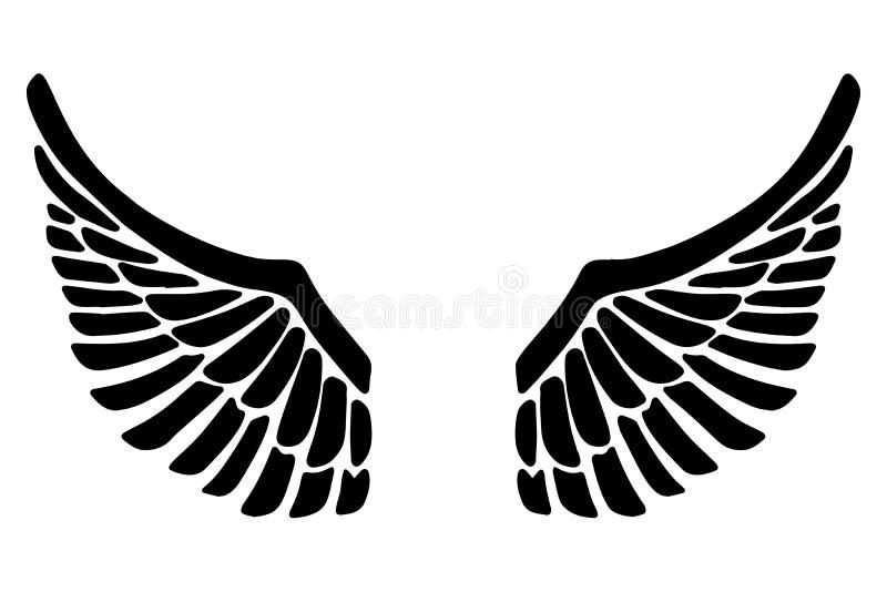 De hand getrokken die illustratie van adelaarsvleugels op witte achtergrond wordt geïsoleerd Ontwerpelement voor affiche, kaart,  royalty-vrije illustratie