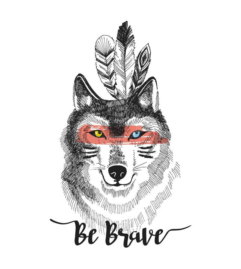 Is de hand getrokken druk met wolf en het van letters voorzien ` moedige ` Ontwerp van de Boho het vectorillustratie voor t-shirt royalty-vrije illustratie