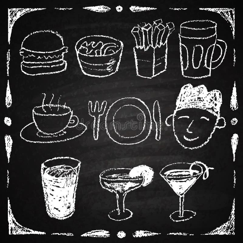 De hand getrokken elementen van het restaurantmenu. vector illustratie