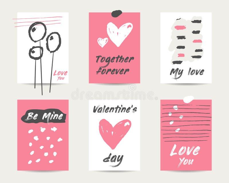 De hand getrokken grunge gelukkige prentbriefkaar van de valentijnskaartdag, pagina's, achtergronden stock illustratie