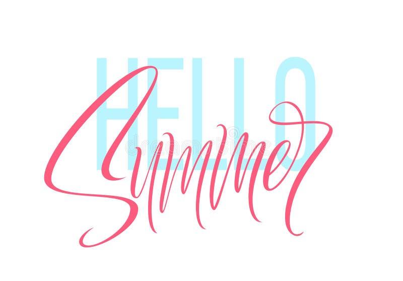 De hand getrokken het van letters voorzien Hello zomer Vector illustratie royalty-vrije illustratie
