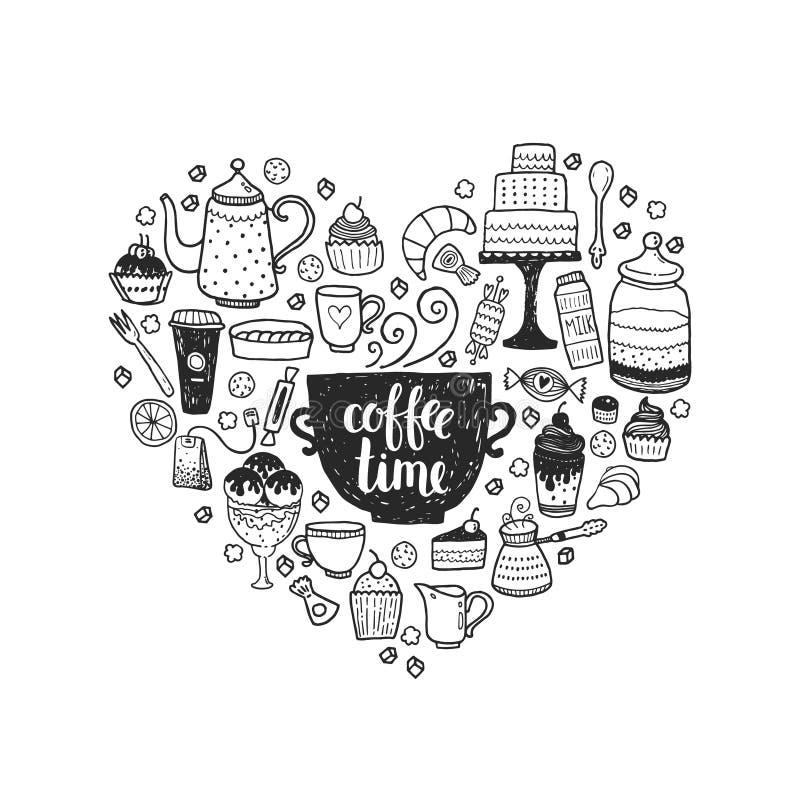 De hand getrokken illustratie van de koffietijd royalty-vrije illustratie