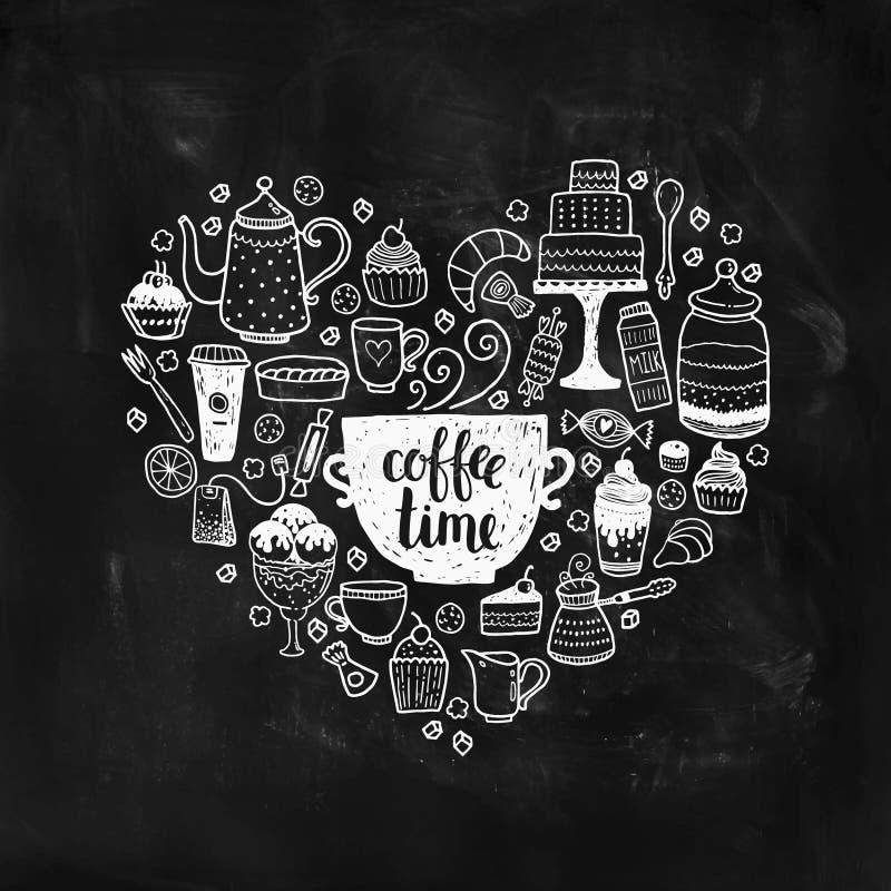 De hand getrokken illustratie van de koffietijd stock illustratie