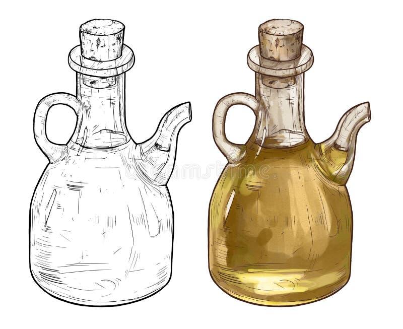 De hand getrokken illustratie van de lijnkunst van olijfolieflessen Kleur twee royalty-vrije stock fotografie