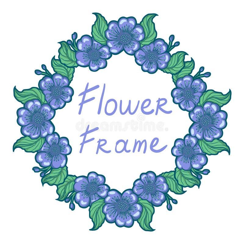 De hand getrokken illustratie van het cirkelkader van pastelkleur purpere bloemen stock illustratie