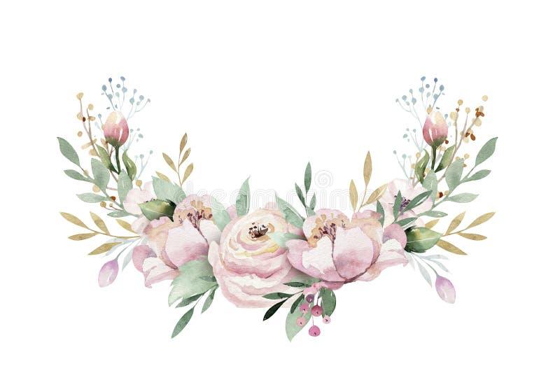 De hand getrokken illustratie van de waterverfkroon Geïsoleerde Botanisch omhult van groene takken en bloembladeren De lente en royalty-vrije illustratie