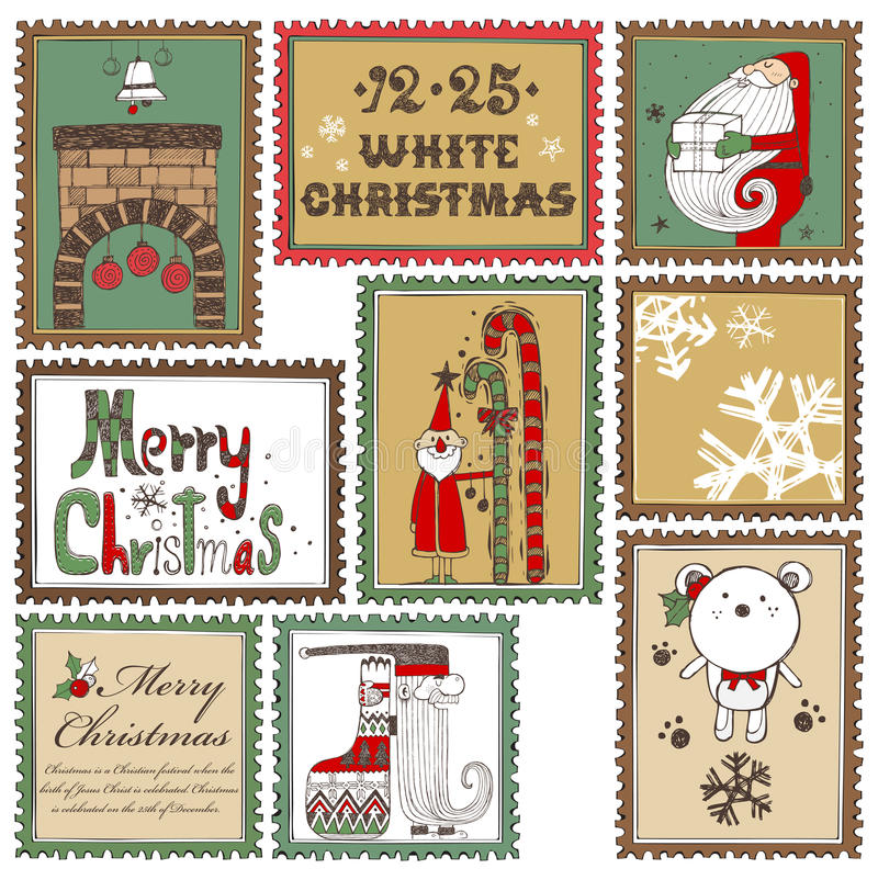 De hand getrokken inzameling B van Kerstmiszegels royalty-vrije illustratie